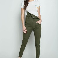 Basic Denim Overalls- Olive