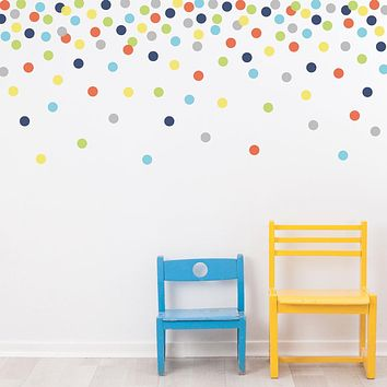 "121 Polka Dot Wall Decals, Navy Orange Green Gray Yellow Eco-Friendly 2"" Dot Wall Stickers"