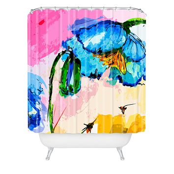Ginette Fine Art Blue Poppies Magnifique Shower Curtain