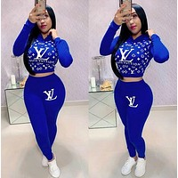 Louis Vuitton LV Women Fashion Casual Multicolor Letter Pattern Print Long Sleeve Trousers Set Two-Piece