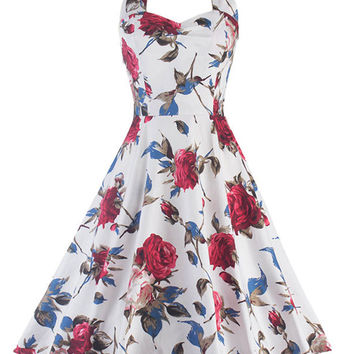 White Flowers Printed Vintage Audrey Hepburn Style Dress 50s Style Sleeveless Swing Straps Dress