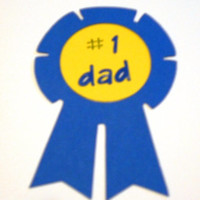 Fathers Day card, #1 Dad, with blue ribbon