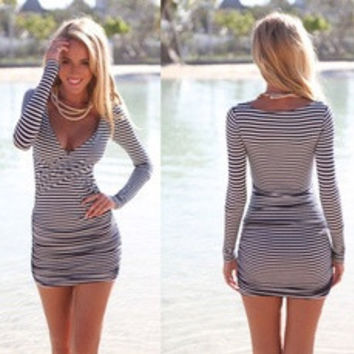 Sexy Women Summer Striped Bodycon Bandage Slim Evening Party Cocktail Mini Dress [8403196743]