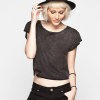 Full Tilt Mineral Wash Womens Crop Tee Black  In Sizes