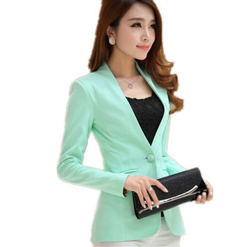Women blazers and Jackets 2016 Spring Autumn long-sleeve Slim Fit Blazer Women shrug suit Jackets candy color office Suit Coat