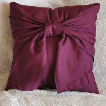Accent Pillow Plum Big Bow Pillow 14x14 Decorative by bedbuggs