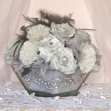 Grey wedding centerpiece, Wedding Decor, Silk floral decor, floral arrangement, Bridal table decor, home decor, bridal shower, baby showers
