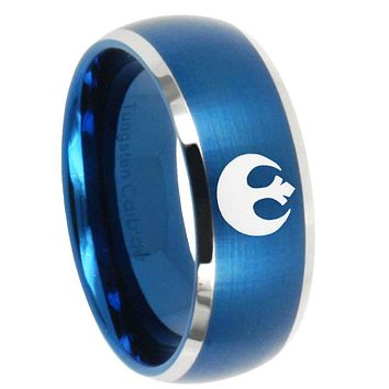 10mm Star Wars Rebel Alliance Dome Brushed Blue 2 Tone Tungsten Mens Bands Ring