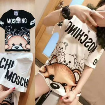 MOSCHINO Woman Men Fashion Print Tunic Shirt Top Blouse T-shirt White