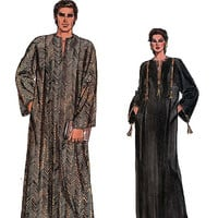 MENS WOMENS CAFTAN Sewing Pattern 1980s Vogue 8474 Bohemian Boho Pullover Neckline Slit Front Back Pleats Size Xs-Xl Unisex Sewing Patterns
