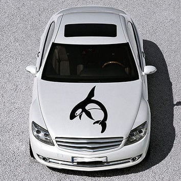 ANIMAL DOLPHIN CUTE FISH DESIGN HOOD CAR VINYL STICKER DECALS ART MURAL SV1580