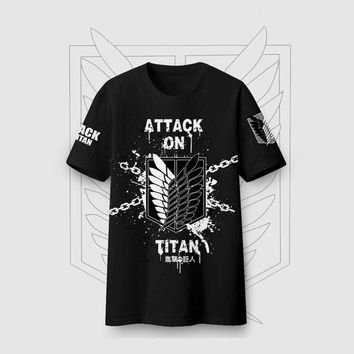 Anime T-shirt graphics New Summer T Shirt Attack on Titan T-shirt Anime Shingeki no Kyojin 2 Cosplay Student Short Sleeve Tops AT_56_4