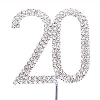 Cosmos ® Rhinestone Crystal Silver Number 20 Birthday 20th Anniversary Cake Topper