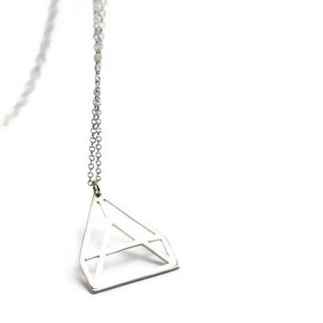 Geometric triangle silver necklace triangle pendant - Made to Order - 925 silver minimalist pendant