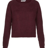 New Look Mobile | Burgundy Ribbed Crop Jumper