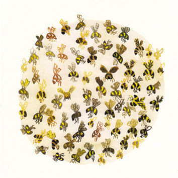 Bees  Limited Edition Print by unitedthread on Etsy