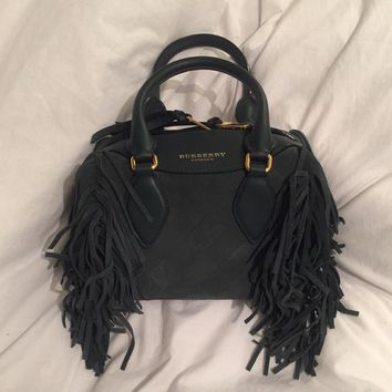 Burberry Prorsum Women's Green Suede Fringed Mini Bee Bag