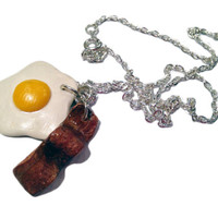 Bacon & Eggs Necklace/Charm - Miniature Food Jewelry - Polymer Clay Food