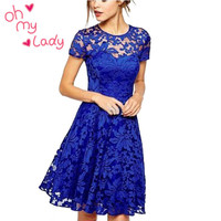 Women Floral Lace Short Sleeve Party Casual Dress