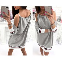 Fashion Multicolor Stripe Strapless Long Sleeve Bandage Strap Mini Dress