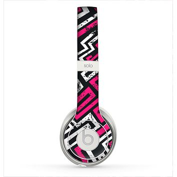 The Pink & White Abstract Maze Pattern Skin for the Beats by Dre Solo 2 Headphones