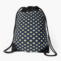 'Navy/Gold Polka Dots' Drawstring Bag by Dizzydot
