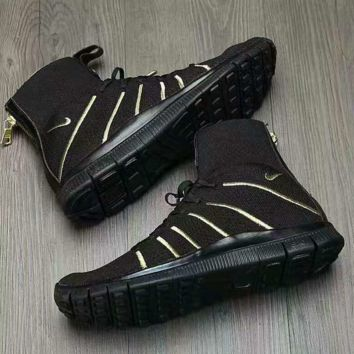 """NIKE"" Running Men Women Casual Sport Shoes Sneakers Black Golden"