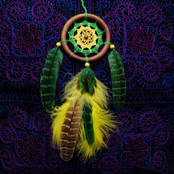 Dreamcatcher, Car Dream catcher, Car Mirror Hanger, Rear View Mirror Dream Catcher, Car Mirror Charm, Car Decor, Green Yellow