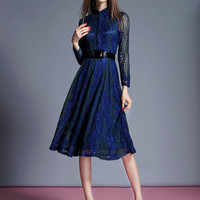Flare Tea-Length Sash Lace Dress