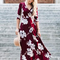 Florence Wrap Maxi Dress - [ Two Colors ]