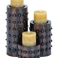 "Candle Stands - Metal Candle Holder Set/3 11"""", 7"""", 4""""H"