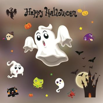 Wall Sticker Paste Static Mirror Glass Window Stickers Spooky Pumpkin Spider for Halloween Home Shopping mall Cartoon Decoration