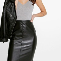 Petite Chelsea Leather Look Midi Skirt