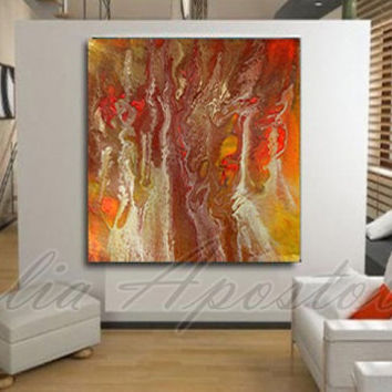52inch Large Abstract Print, Orange Painting, Huge Gold Wall Art, Copper Artwork, Brown, Red, Yellow, Contemporary, Gold Home Office Decor