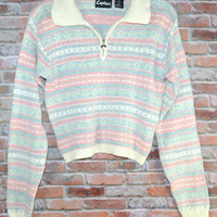 Vintage 80s Sweater Medium Pastels Heart Zipper  Hipster