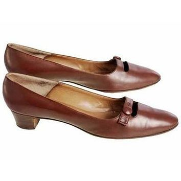 Vintage Womens Brown Leather Shoes Roger Vivier 1960s 9AA Box