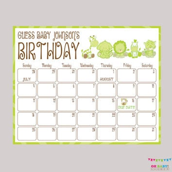 Due Date Calendar Green Safari Baby Shower Birthday Predictions Printable Baby Shower Birthday Guess - Neutral Baby Shower Activity BS0001-G