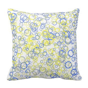 Fun Blue and Yellow Tiny Bubbly Bubbles Throw Pillows