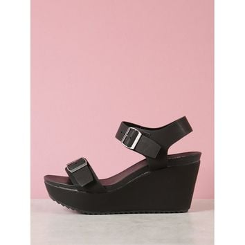 Double Buckled Wedge Sandal
