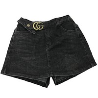 GUCCI Women Fashion Summer New Letter Leisure Culottes Shorts Smoke Black