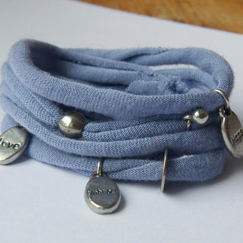 Eco friendly blue wrap bracelet - Upcycled t-shirt bracelet with charms - Inspiring charms and silver beads and details