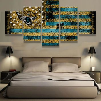 5 Pieces/Set Jacksonville Jaguars Sports Flag Logo Team Logo Oil Painting On Canvas Modern Home Pictures Prints Living Room Deco