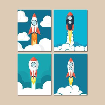 Rocket Wall Art, Rocket Decor, Outer Space Wall Art, Space CANVAS or Prints, Space Ship Pictures, Space Theme, Big Boy Room Artwork Set of 4