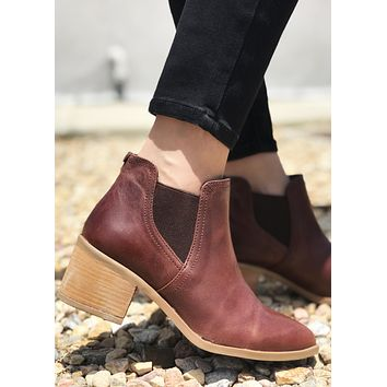 Brazille Leather Bootie - Red Brown
