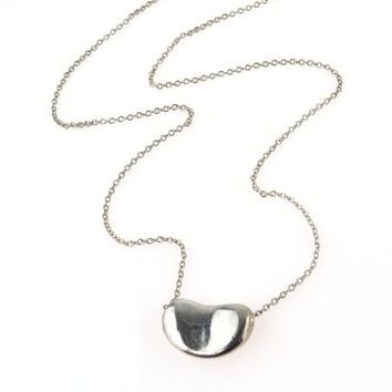 Tiffany & Co Elsa Peretti Sterling Silver Bean Necklace, Vintage, 1930s to 1980s