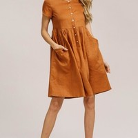 Linen Baby Doll Dress With Patch Pockets