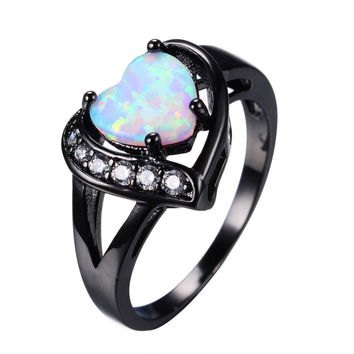 White Fire Opal Heart Ring With AAA Zircon Black Gold Ring