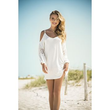Ivory Off The Shoulder Loose Fit Cover-up Beach Resort Dress w/ Crochet Detailing