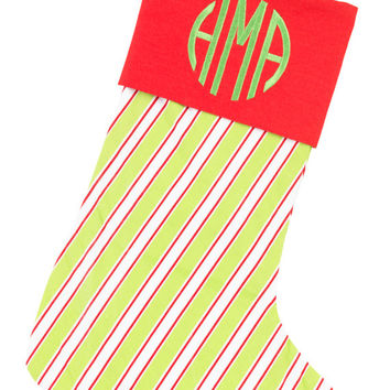Christmas Stocking Lime Green Stripe and Red - Monogammed Personalized