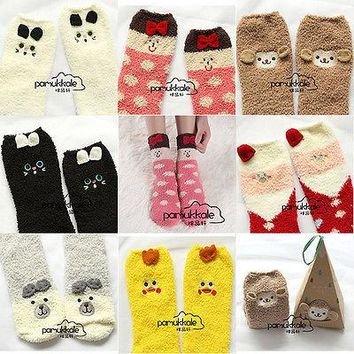 Home Floor Cute Animal Cotton&Wool Winter Socks Women Solid Color Female Warm Thick Fluffy Girls' Socks women socks cotton